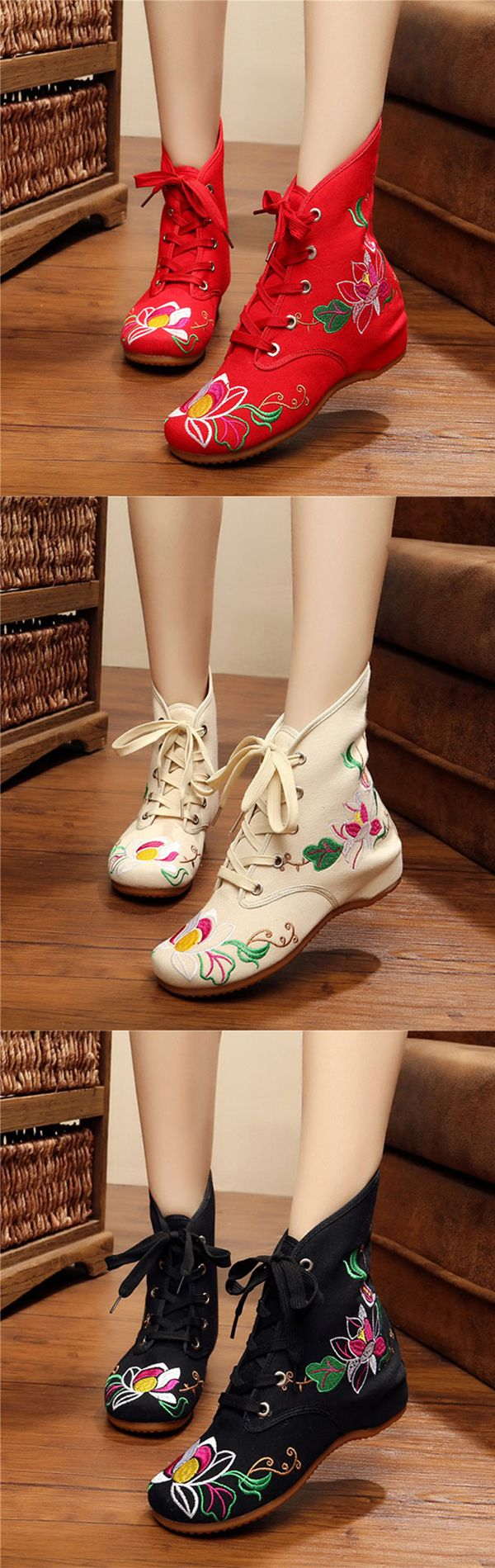 US$22.61 Floral Print Embroidery Lace Up Retro Wedge Heel Boots
