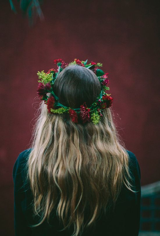 deep red and greenery floral crown | Photo by Paige Lowe