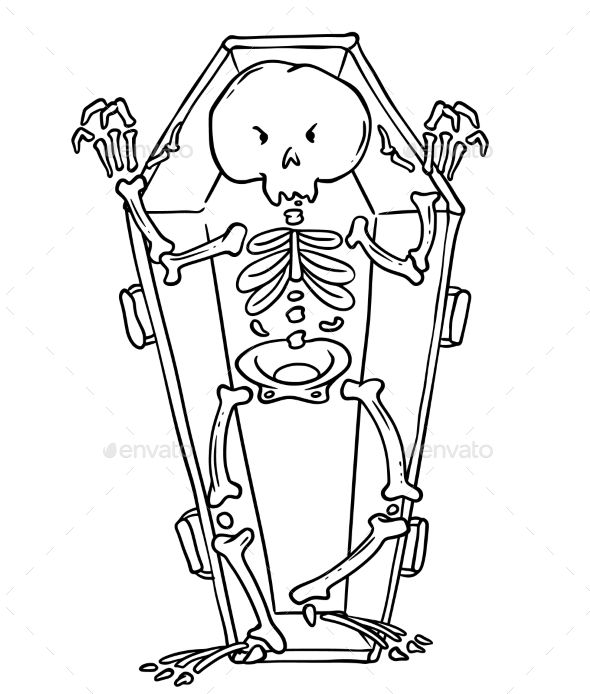 Skeleton In Coffin In Cartoon Style Coffin Skeleton Style