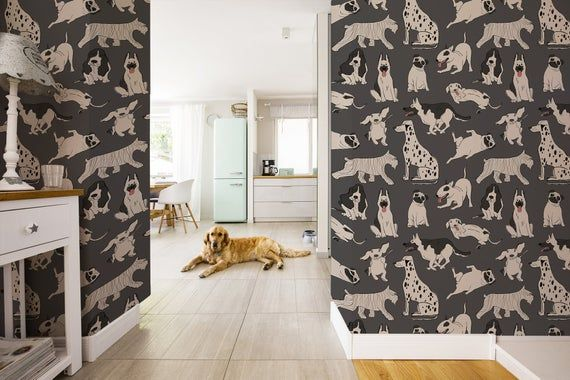 Funny Dogs Wallpaper Peel And Stick Wall Mural Removable Etsy In 2021 Dog Wallpaper Dark Wallpaper Wallpaper