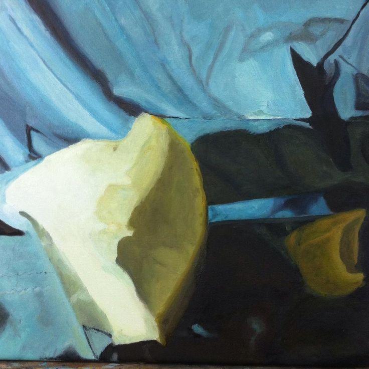 Pintura  bodegon  de colores primarios , oleo sobre tela 40x40 #oleo #oil #blue #azul #cuadro #pinturasobretela #coloresprimarios