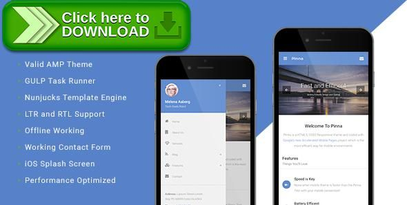 [ThemeForest]Free nulled download Pinna - AMP Template from http://zippyfile.download/f.php?id=25737 Tags: accelerated mobile page, amp, arabic, business, clean, gulp, gulp.js, ipad, iphone, mobile, nunjucks, responsive, rtl, smart phone, template engine