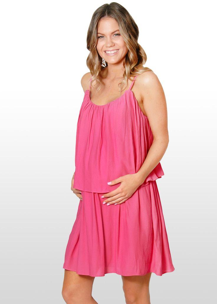 Pink Tiered Maternity Dress www.dressmybump.net www.facebook.com/dressmybumpau