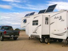 What to expect when installing RV solar power and considerations for making the most of solar power equipment, after installing new panels, inverter and charge controller on our fifth wheel trailer at Slab City.