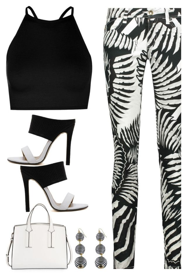 """""""Black & White Printed Jeans"""" by majezy ❤ liked on Polyvore featuring French Connection, Boohoo and Just Cavalli"""