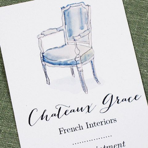 Interior Design Business Card,Antique Business Card,Staging Card, Personalized business card with French Louis XVI Chair, Set of 50 on Etsy, $27.00