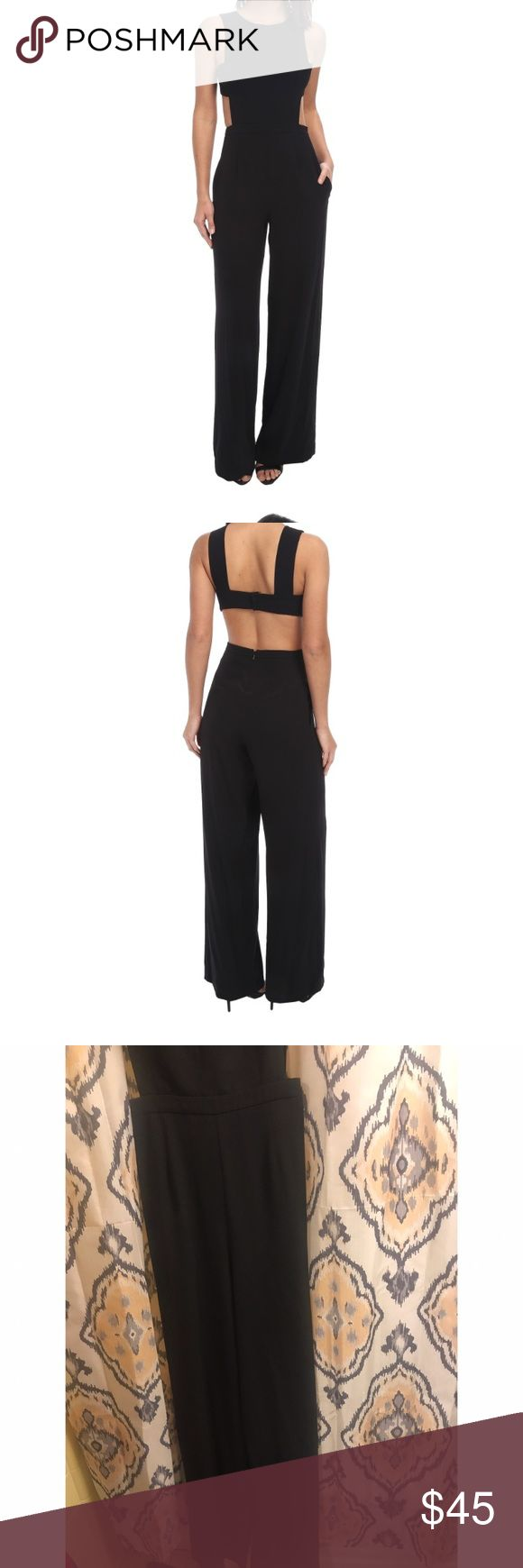 Rossana Cutout Black Jumpsuit Open back with banded detail. Banded waistline, wide leg. BCBGMaxAzria Other