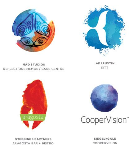 LogoLounge has published their 10th annual trends report for this year. For this year's 'organic' trend there is an arrival of watercolor designs #logo #design
