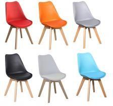 Arizona Gaze Καρέκλα πολυπροπυλενίου με ξύλινα πόδια / PU μαξιλαράκι