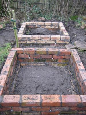 old vintage brick garden beds