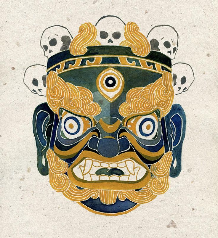 Tibetan Mask study #illustration #tibet #mask #ink #green #gold