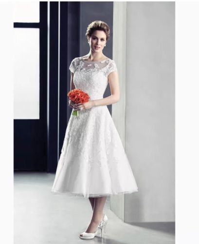 80dcefc32228 OLEG CASSINI TEA Length Wedding Dress, CAP Sleeve, Illusion LACE, Sz 14  Retro