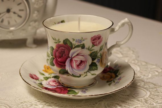 #0052 Teacup Candle. Paragons Un-named design cc1950 with light and dark pink flowers.  Floral: Secret Garden Scent Uses: Romantic sense of