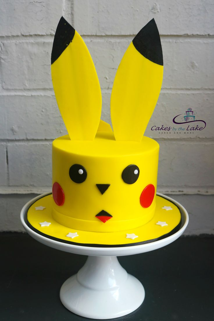 PIKACHU CAKE We created this brightly coloured Pikachu cake which consisted of chocolate mud cake covered in bright yellow fondant. www.cakesbythelake.com.au www.instagram.com/cakes_by_the_lake