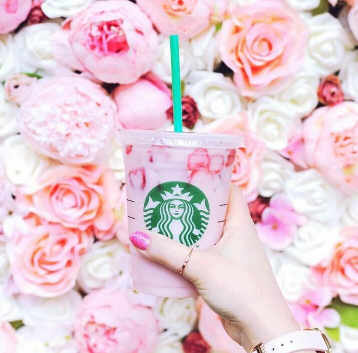 Pink Drink meet Flower Wall Starbucks