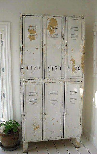 White industrial lockers