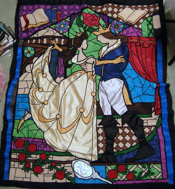 Beauty and the Beast Stained Glass Window Quilt by BrightPhoenix10