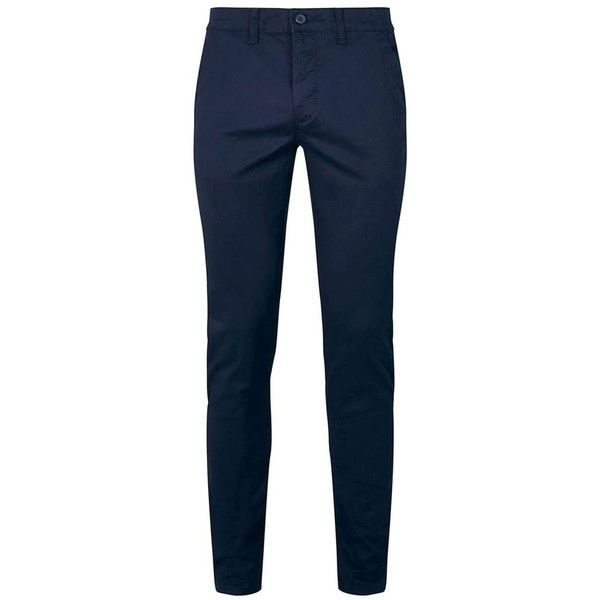 TOPMAN Navy Stretch Skinny Chinos (105 BRL) ❤ liked on Polyvore featuring men's fashion, men's clothing, men's pants, men's casual pants, navy, mens chinos pants, mens skinny pants, mens stretch pants, mens chino pants and mens super skinny dress pants