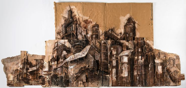 Laura Myers, 'Ode to arte povera' 2015, cardboard, bark, paper, drawing category, [Sydney Girls High School] - ArtExpress 2016, HSC Artworks of 2015, Art Gallery of NSW, Australia