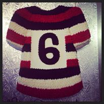 Black, Red and White Striped Jersey