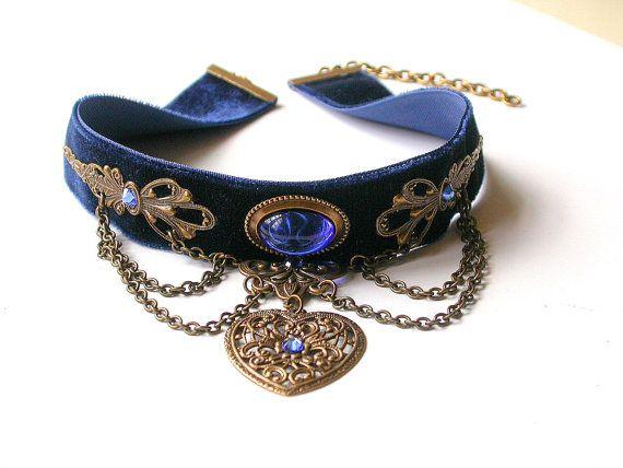 Blue Velvet Choker Pendant Blue Choker Heart by LeBoudoirNoir