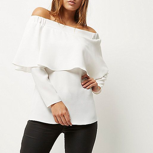 be5a23b83ba8db Cream deep frill bardot top - bardot   cold shoulder tops - tops - women