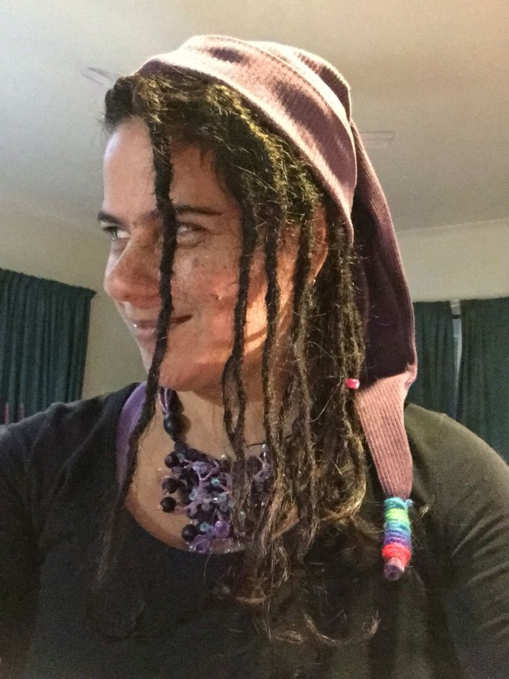 Dreadlocks with Pixie Hat made by me from an old woollen jumper sleeve