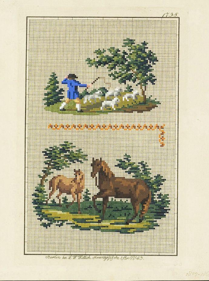 Berlin woolwork chart: Farm scenes