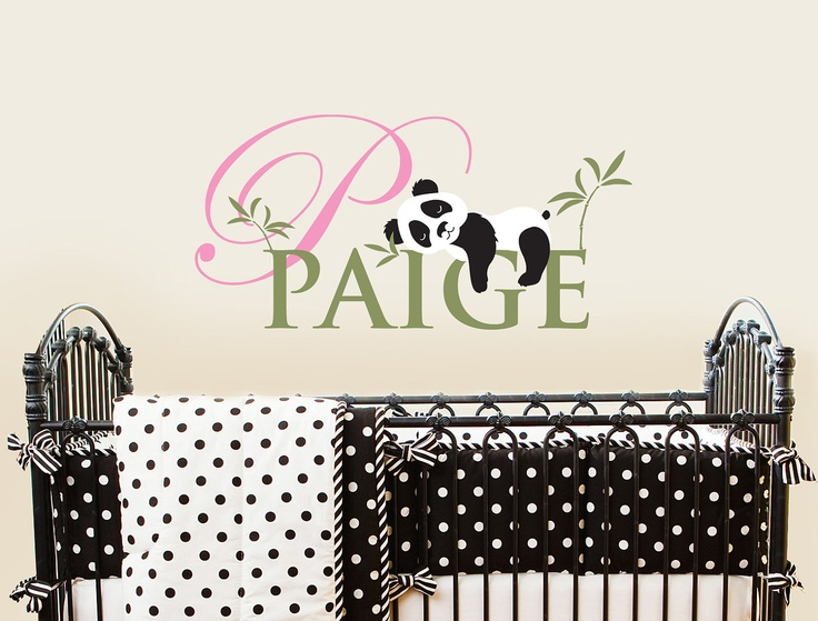 Panda Monogram Sleeping panda Nursery Wall Vinyl by ababywall, $34.00  I want this in Lilys room, adorable!!
