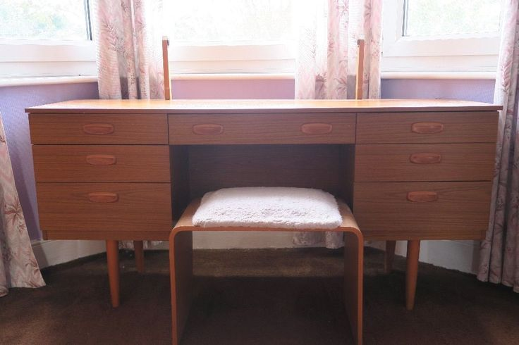 Mid century retro Schreiber dressing table and matching stool on Gumtree. Mid century retro Schreiber dressing table and matching stool. The mirror has been removed from the