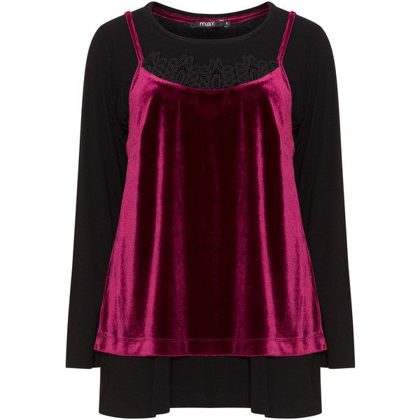 Mat Black / Berry-Purple Plus Size 2-in-1 jersey and velvet top ($73) ❤ liked on Polyvore featuring tops, black, plus size, purple long sleeve top, plus size cami tops, plus size long sleeve tops, velvet top and purple plus size tops