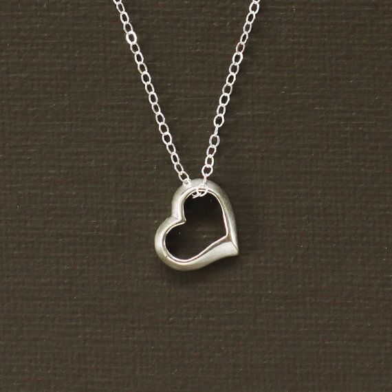 Tiffanys Style Heart Necklace - Sterling Silver Open Heart Necklace - LOVE
