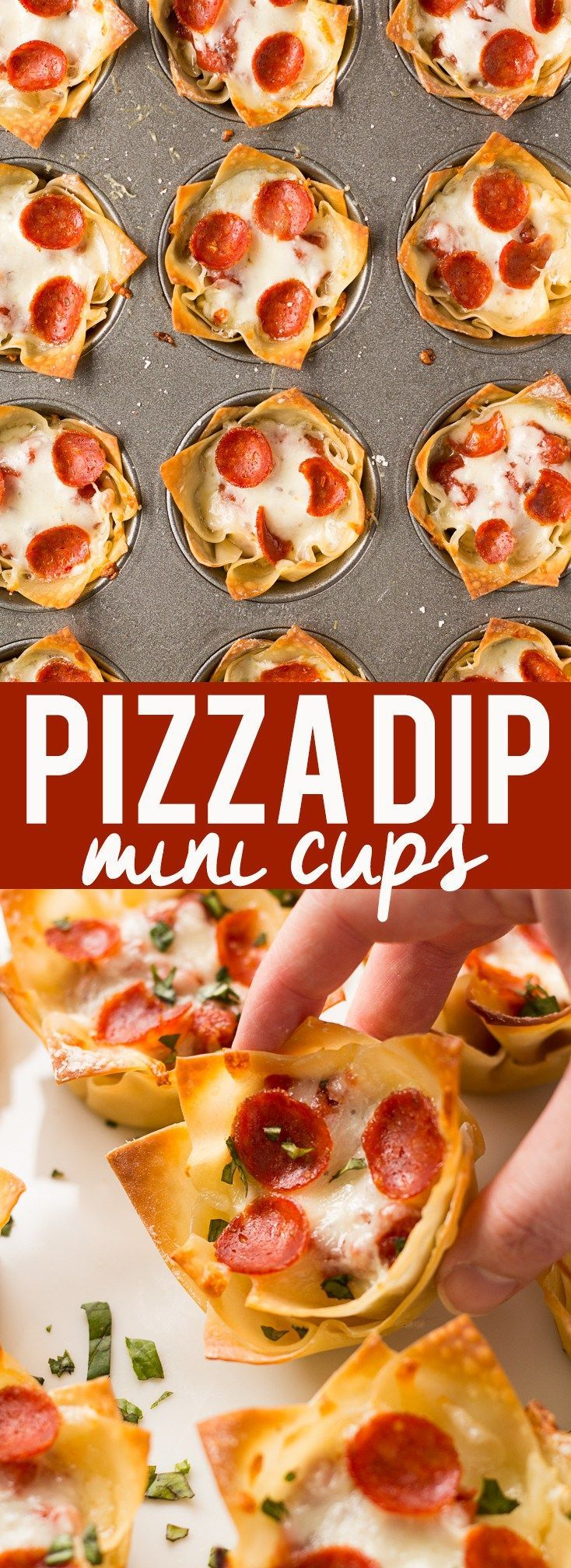 These cute Mini Pizza Dip Cups are cheesy and delicious! Perfect for your next party, game day or tailgate!