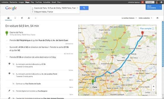 nouvelle version google maps itinéraire