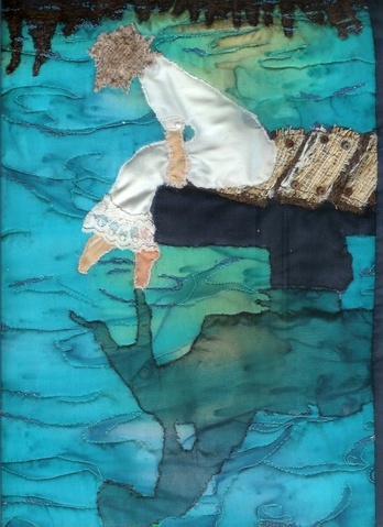 art quilt girl on a pier - I love the use of batiks for the water reflection.
