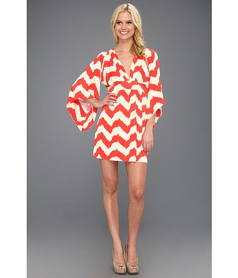 Tbags Los Angeles Deep V-Neck Kimono Sleeve Mini Dress w/ Tie Waist EM2 Print