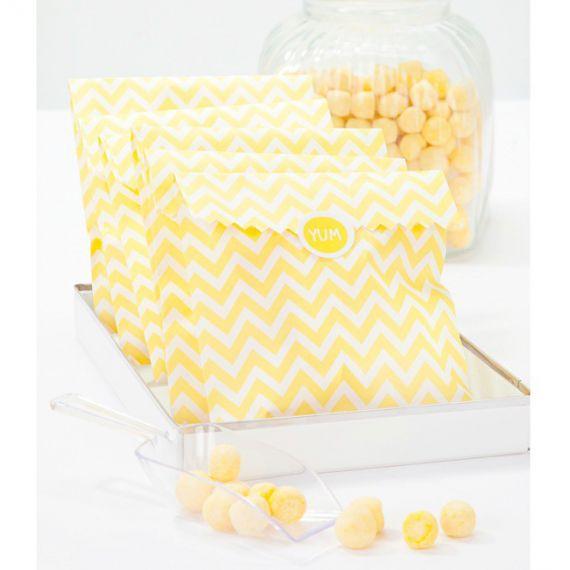 Sachets confiserie chevron jaune