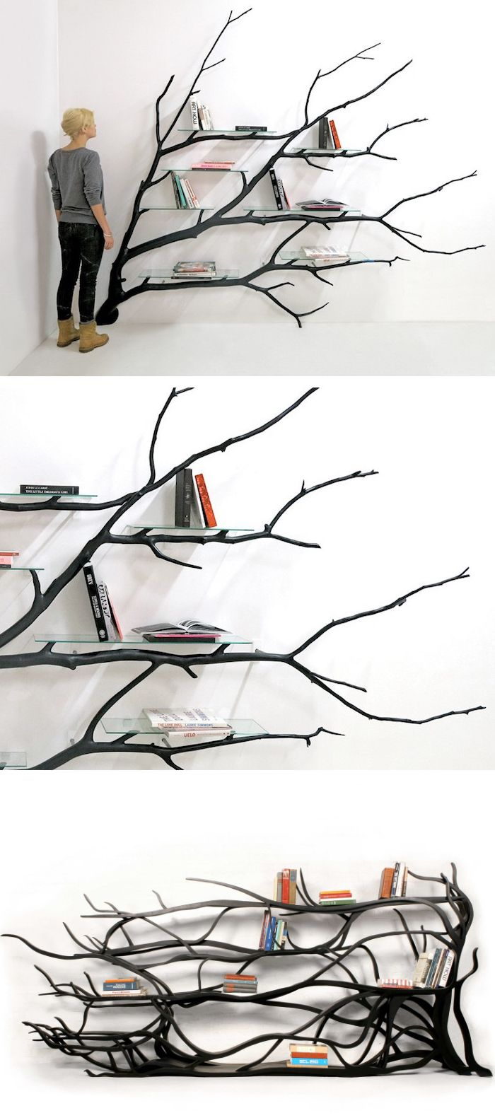 Wooden shelves tree tree branch bookshelf diy tree shaped shelf - Found Fallen Tree Branch Is Repurposed Into Beautifully Unconventional Shelving