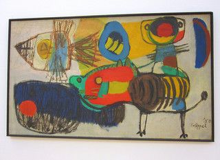 'Karel Appel's La Promenade (1950)  Christiaan Karel Appel (25 April 1921 – 3 May 2006) was a Dutch painter, sculptor, and poet. He started painting at the age of fourteen and studied at the Rijksakademie in Amsterdam in the 1940s. He was one of the founders of the avant-garde movement Cobra in 1948. http://flickrhivemind.net/Tags/karelappel