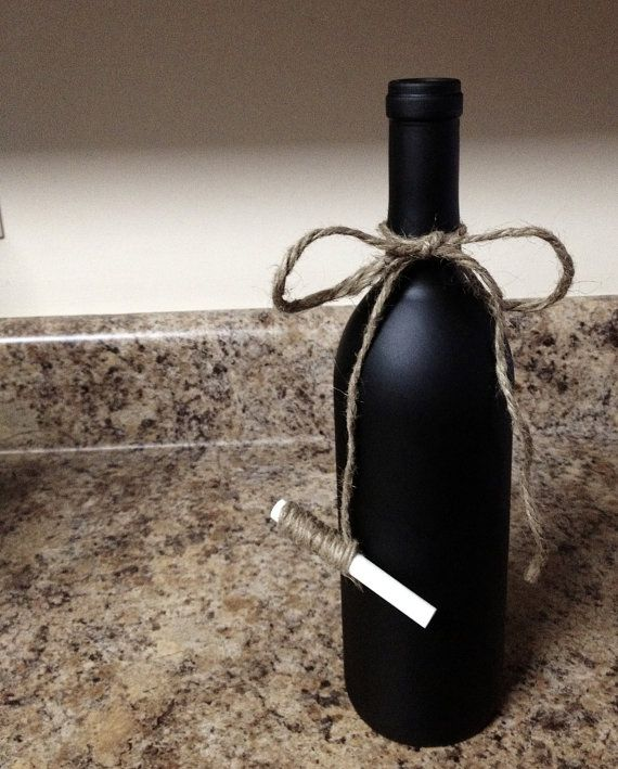 Cover a wine bottle in chalkboard paint and attach a piece of chalk with twine. You can give these out as favors at a dinner party with the name of the guest written on it!