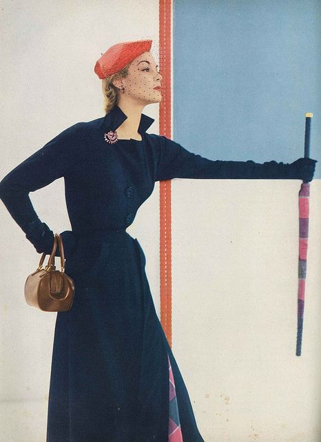 """""""Coat dress - dress coat, from one of the most talked about, most wearable collections in New York. This, by Harvey Berin made in Julliard Worsted and lined with rayon taffeta."""
