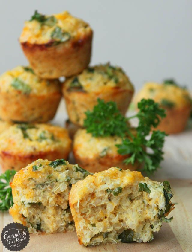 QUINOA SPINACH OMELETTE BITES (Yields 10) INGREDIENTS: 1 cup cooked quinoa, (warmed); 1/2 cup shredded Cheddar cheese (or mozzarella); 2 large eggs; 1/3 cup chopped fresh spinach leaves; 1 tbsp chopped parsley; 1/2 tsp Italian seasoning; 1/2 tsp pepper; 1/4 tsp salt.