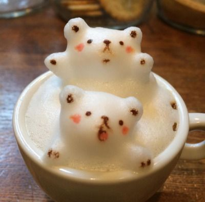 3D latte art is my favorite and how can you not love these little bears? #MCO435
