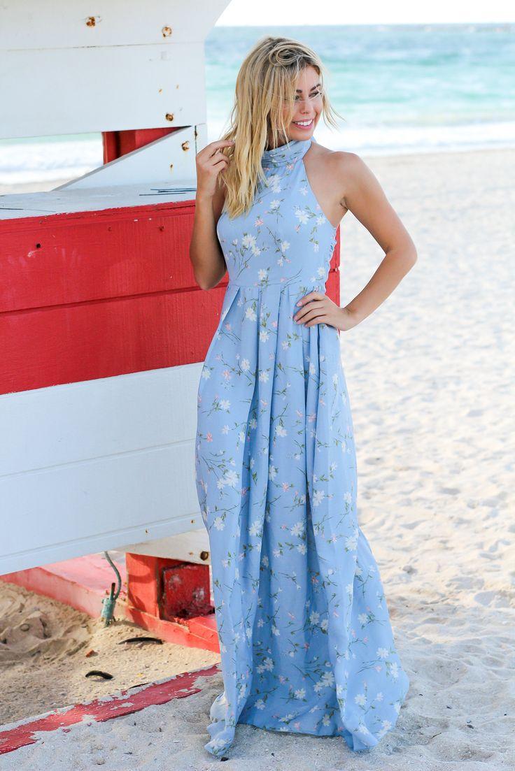 Baby Blue Floral Halter Neck Maxi Dress
