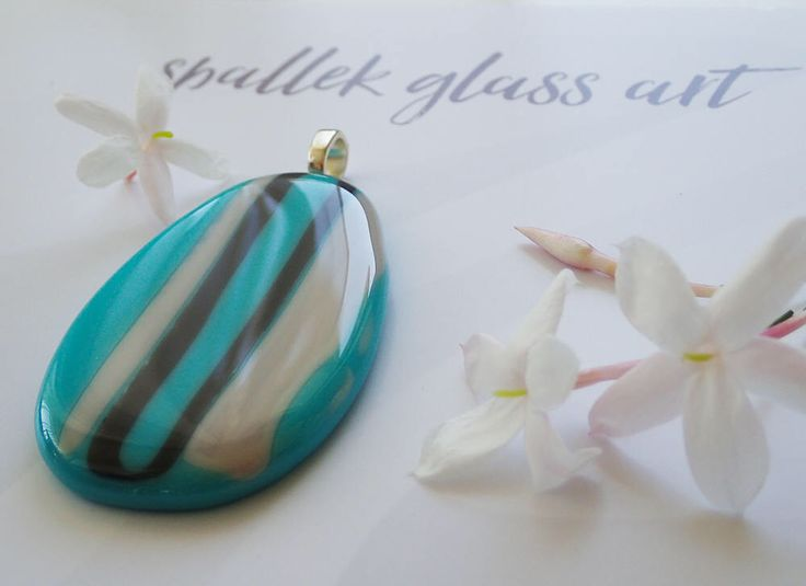 Make a Statement: Unique large turquoise fused glass pendant, oval shaped with white and grey stripes, statement necklace by SpallekGlassArt by SpalleksGlassArt on Etsy https://www.etsy.com/au/listing/560563944/make-a-statement-unique-large-turquoise