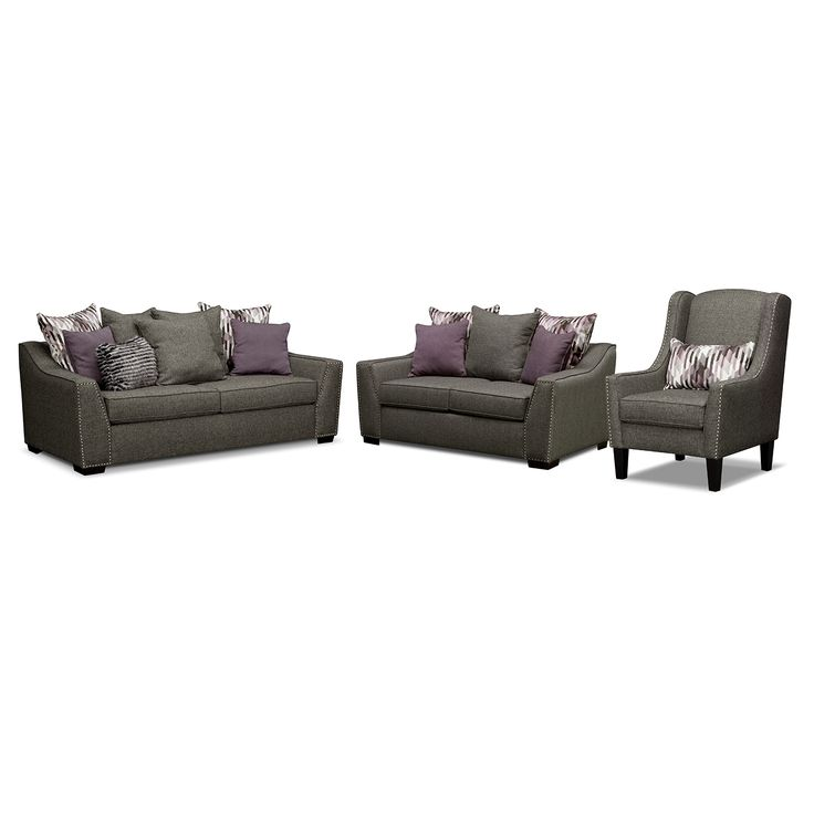 American Signature Furniture   Ritz Upholstery 3 Pc. Living Room W/Accent  Chair Part 68