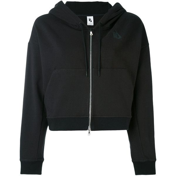 Nike cropped zip hoodie (3.035 ARS) ❤ liked on Polyvore featuring tops, hoodies, jackets, sweaters, outerwear, black, hooded sweatshirt, cropped tops, hooded zipper sweatshirts and long sleeve hooded sweatshirt