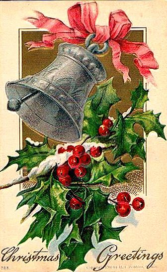 Vintage Christmas card bell and holly