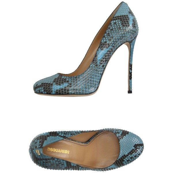 Dsquared2 Court ($245) ❤ liked on Polyvore featuring shoes, pumps, sky blue, multi color pumps, dsquared2 shoes, rubber sole shoes, snake print shoes and colorful shoes