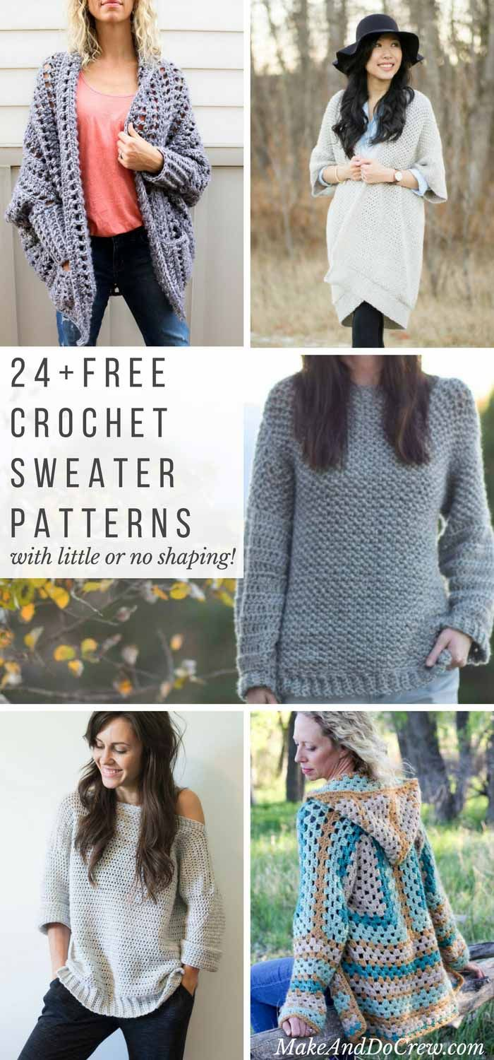Crocheters of all levels will find something to love in this compilation of free crochet sweater patterns, each of which require very little or no shaping. via @makeanddocrew